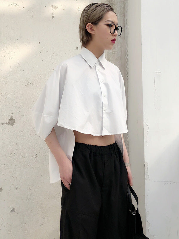 Solid Cropped Half-short Shirt