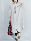 The New Long Sleeve Pure Color Long Shirt Dress