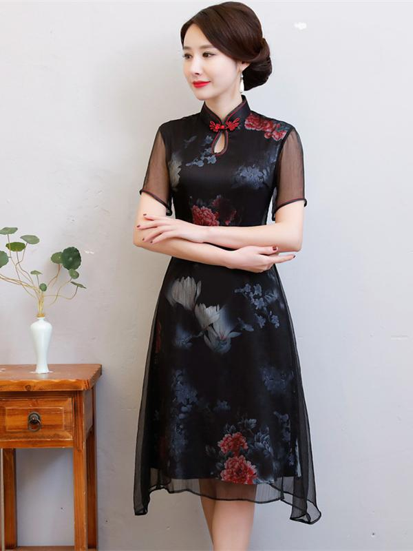 Black Peony Print Split-side Short Cheongsam