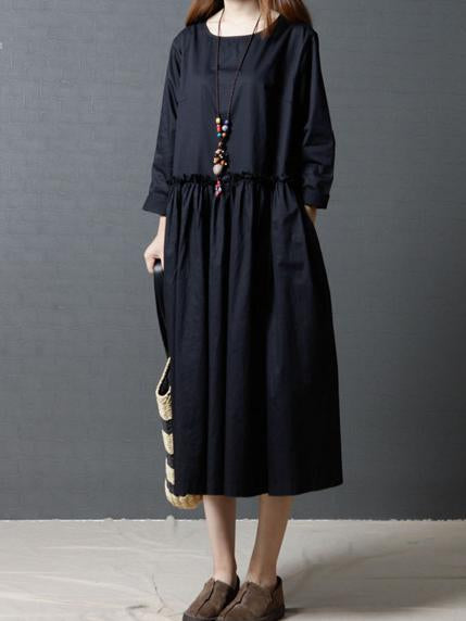 The New Long Sleeve Pure Color Long Dress
