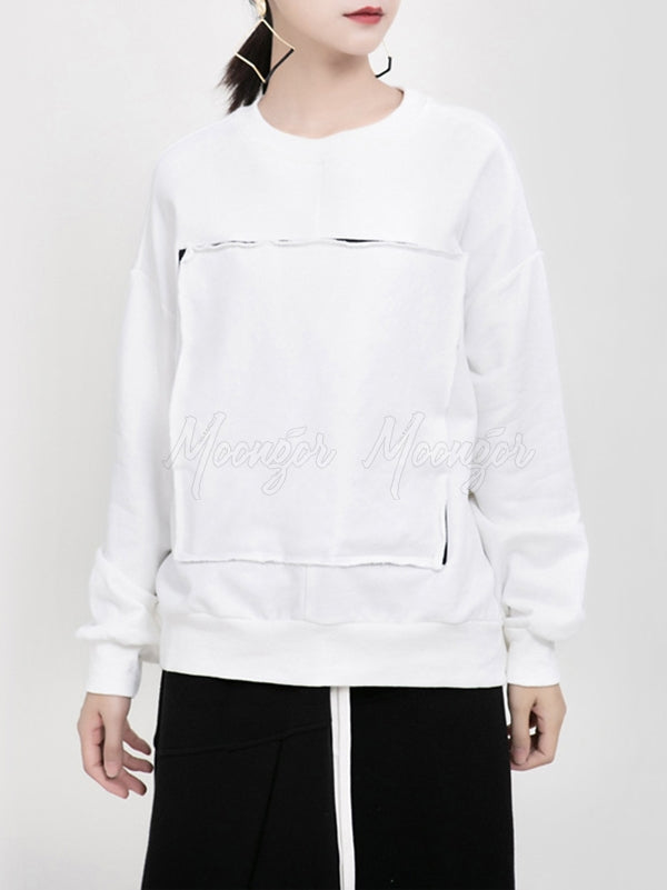 Solid Color Round Neck Patch Sweatshirt