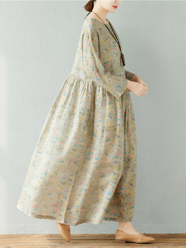 Loose Floral Blouse Fresh Long Dress