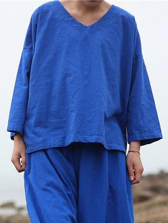Blue V-neck Loose Comfortable T-shirt Tops