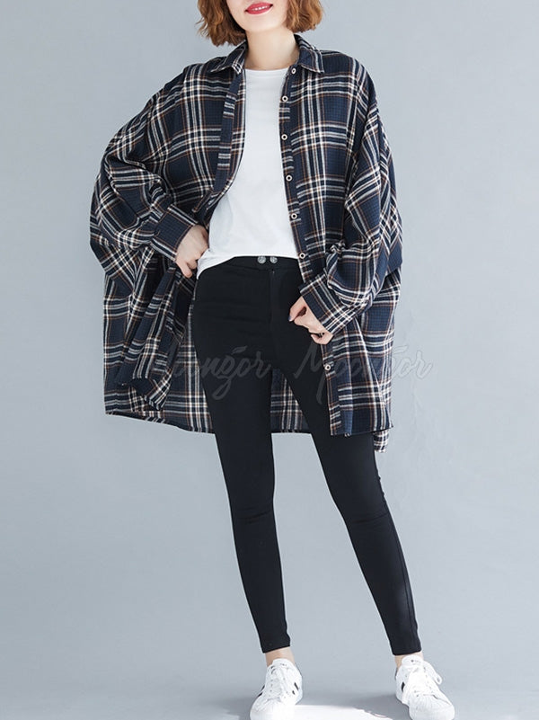 Casual Plaid Batwing Sleeves Lapel Shirt