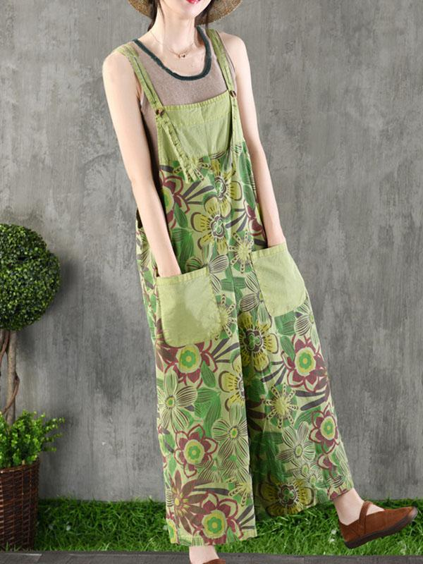 National Flower Cotton Jean Jumpsuit