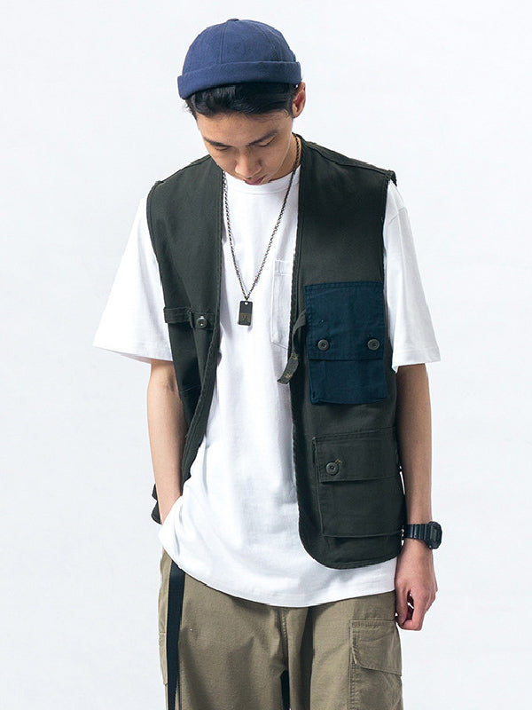 Vintage Big Pocket Split-joint Vest