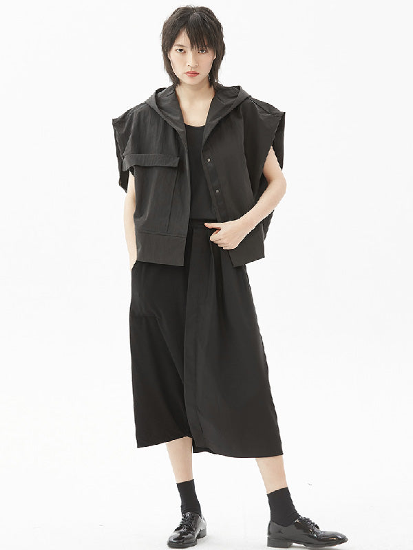 Original Simple Black With-hat Sleeveless Outwear