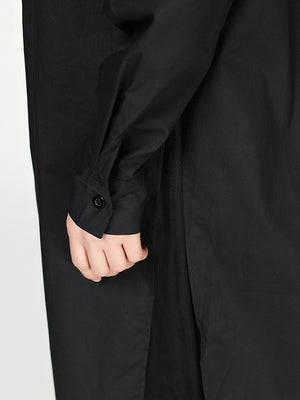 Cropped Split-joint Split-front Lapel Long Blouse