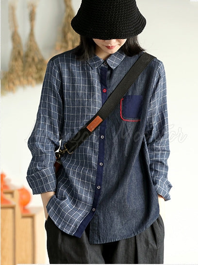 Casual Plaid Split-joint Shirt