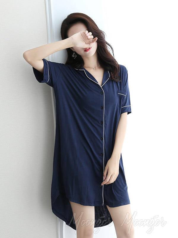 Casual V-Neck Button Modal Short Pajamas