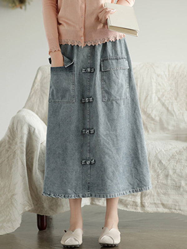 Original Retro Frog Belted Denim Skirt