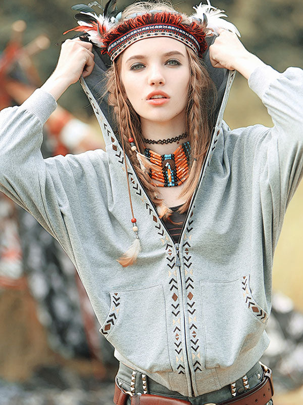 Casual Batwing Sleeves Embroidered Outwear