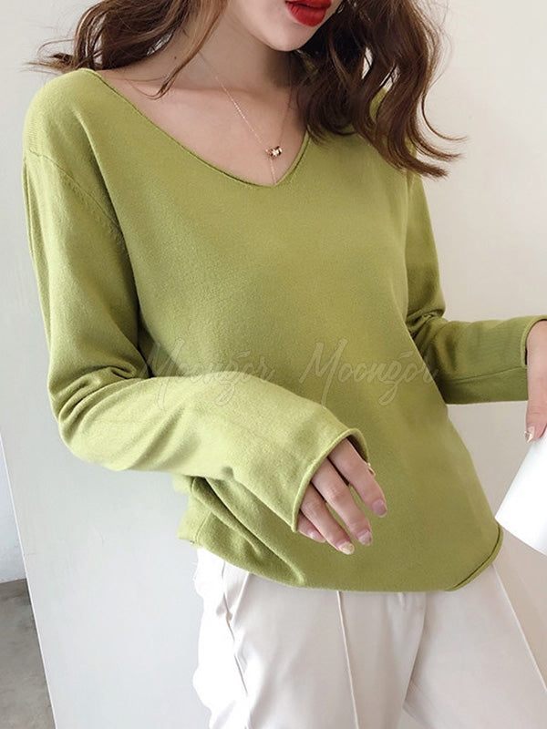 Solid Casual Loose V-Neck Sweater