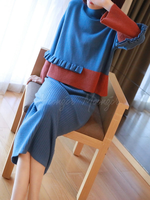 Casual Graceful Split-Joint Knitting Suits