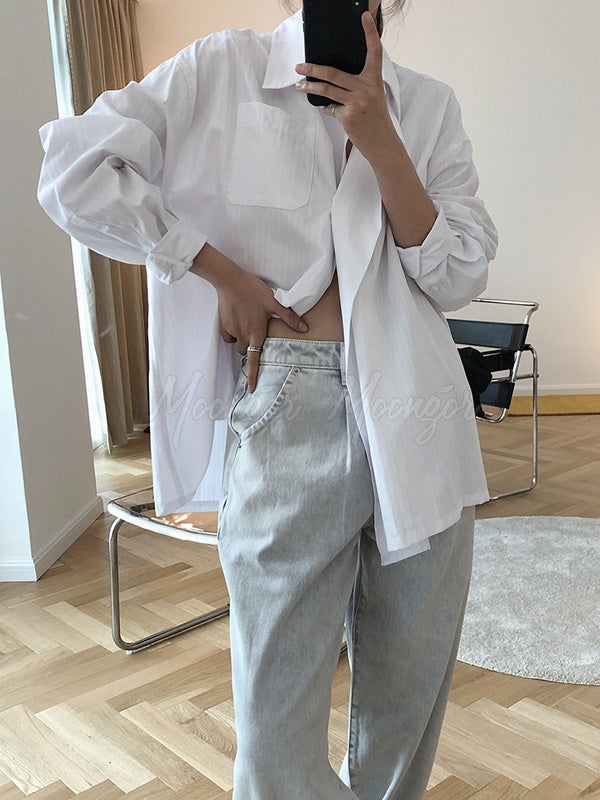 Loose Asymmetric Boyfriend Style Lapel Shirt