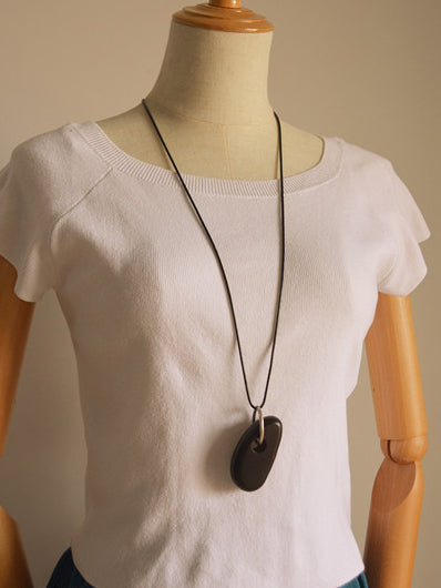 Simple Whole Wood Pendant Necklace