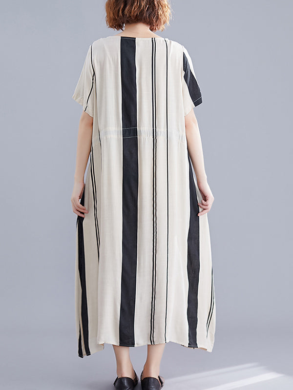 Bow-Knot Striped Loose Long Dress