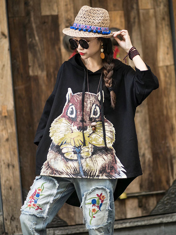Loose Vintage Squirrel Print Hoodies