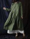 V-neck Pure linen cotton Long Sleeves Dress