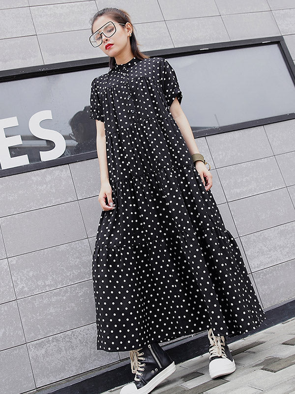 bddf36319b1 Loose Polka-dot A-line Long Dress – moongor