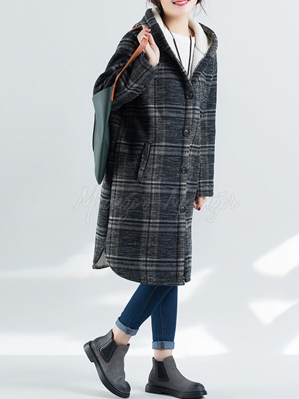 Loose Plaid Thicken Woolen Outwears