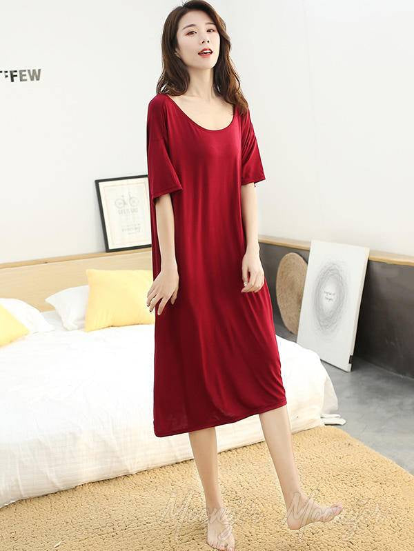 Casual Black Hollow-Out Comfortable Modal Pajamas