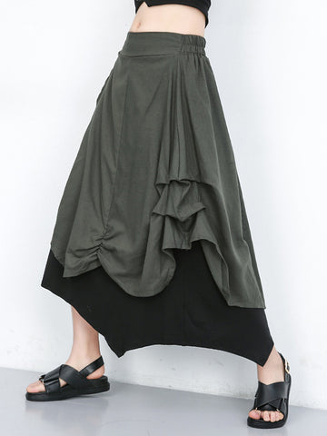 Black Loose High-low Hollow A-line Dress