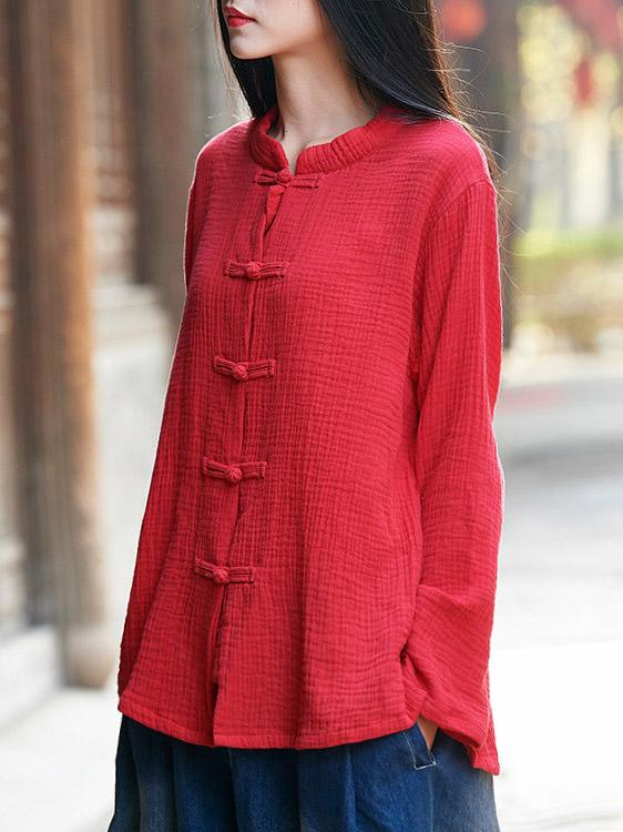 Comfortable Button Cotton Stand Collar Cover up