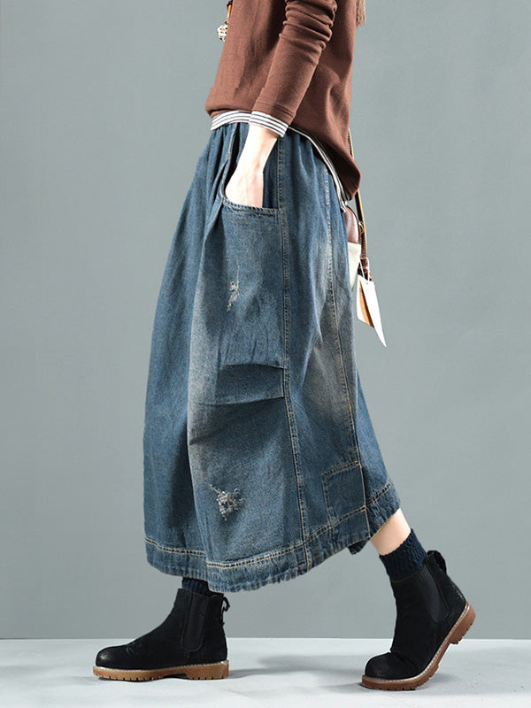 Split-joint Denim Skirt Bottom