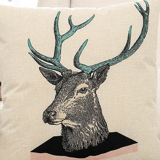Deer Painting Printed Pillow Case
