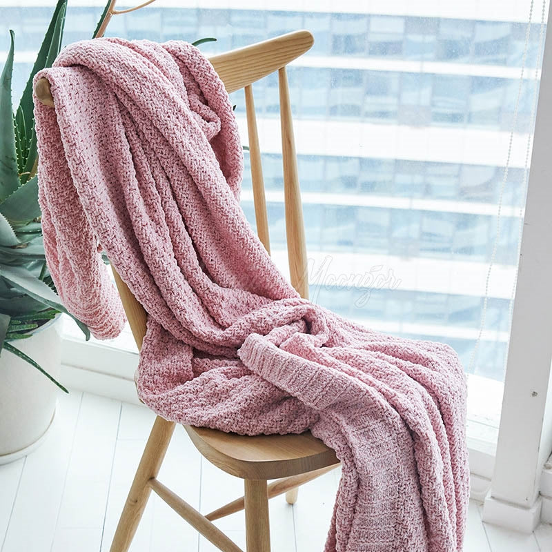 Solid Crochet Knit Blankets