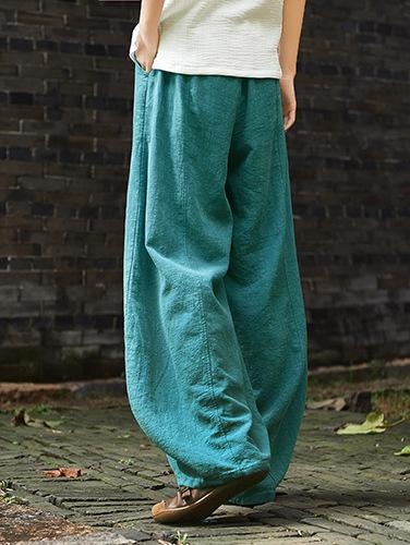 Vintage Loose Ramie Cotton Linen Bloomers Pants