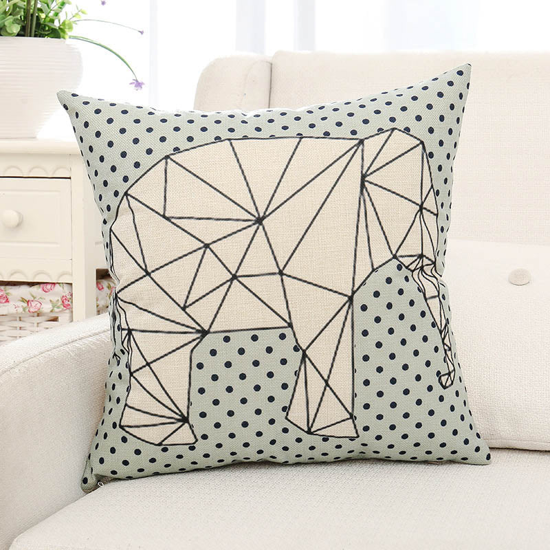 Geometric Elephant Printed Pillow Case