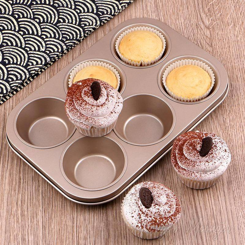 6 Cups DIY Baking Tools Non-Stick Cupcake Mold