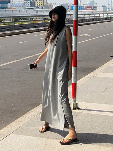 Gray Backless Sleeveless Split-side Long T-shirt Dress