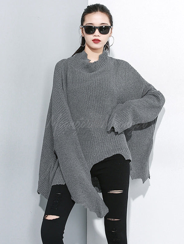 Plain Loose Cropped Turtleneck Sweater
