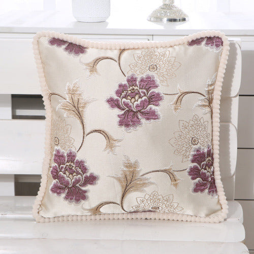 Hibiscus Printed Embroidered Pillow Case