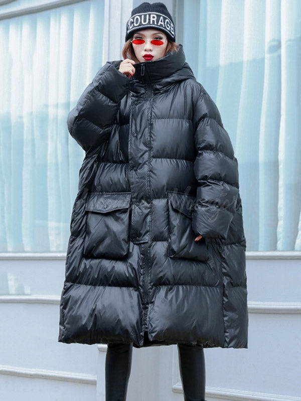 Loose Warm Hooded Big Cotton-padded Jacket
