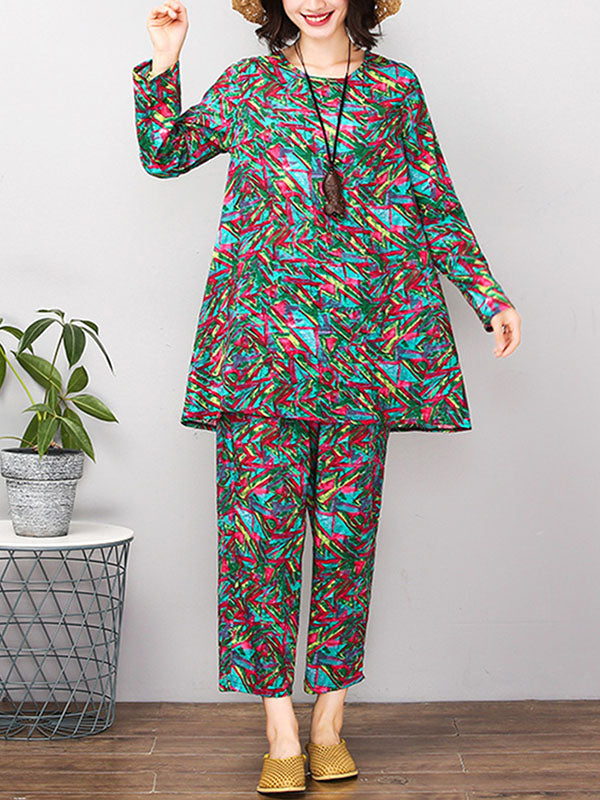 Red&Green Printed Round-neck T-shirt+Pants Suits