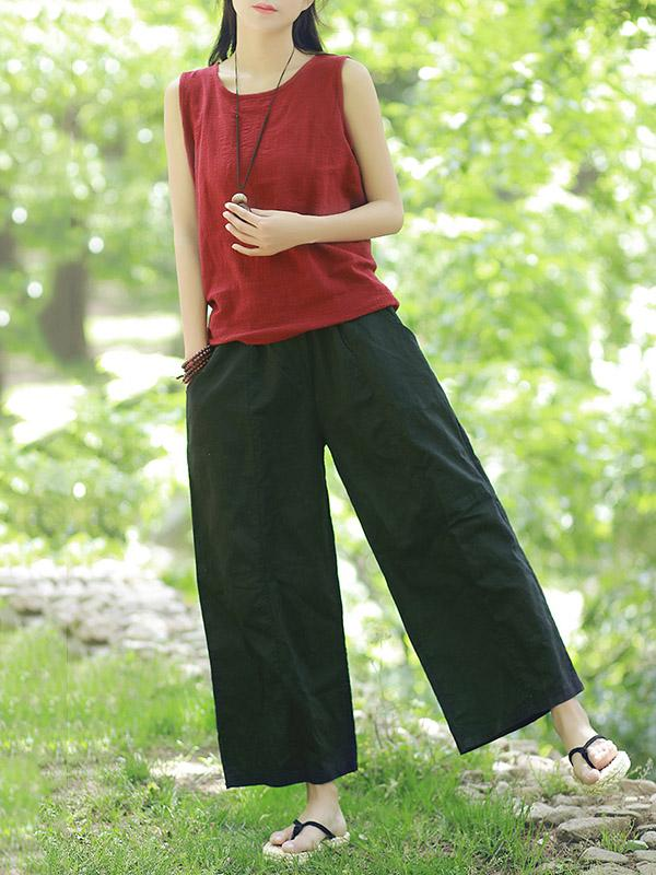 Vintage Split-joint Ramie Cotton Wide Leg Casual Pants