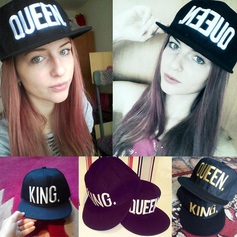 1PC KING QUEEN Embroidered Caps Lover Men Women