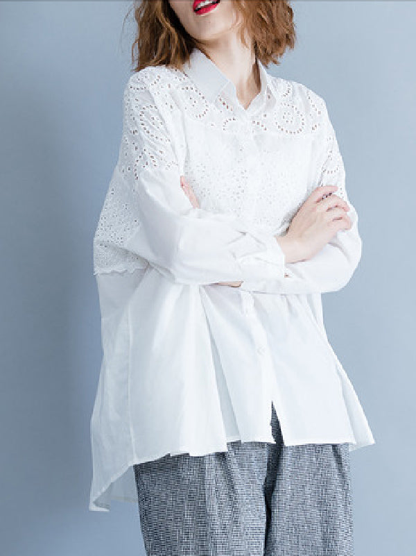 Loose Embroidered White Shirt