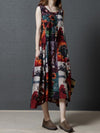Red Printed Sleeveless Long Dress