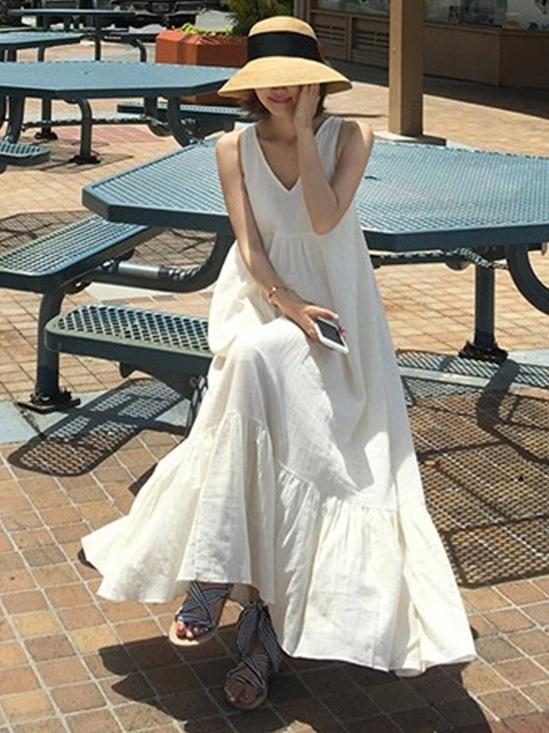 White Loose Cotton Sleeveless Long Dress