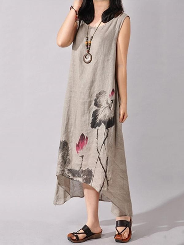 Ink Painting Cropped Ramie Cotton Long Dress