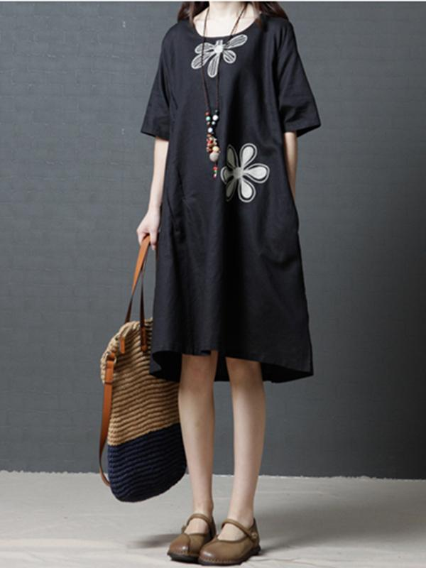 3 Colors Comfortable Round-neck Ramie Cotton Short Dress