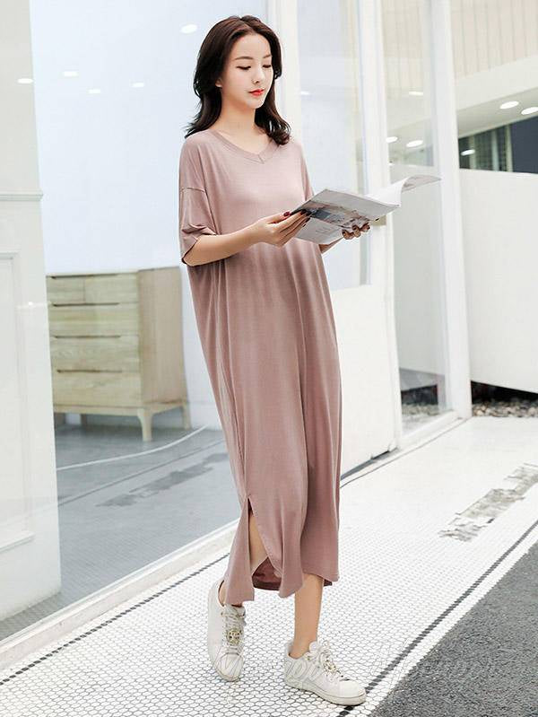 Loose Solid Short Sleeve Casual V-Neck Pajamas