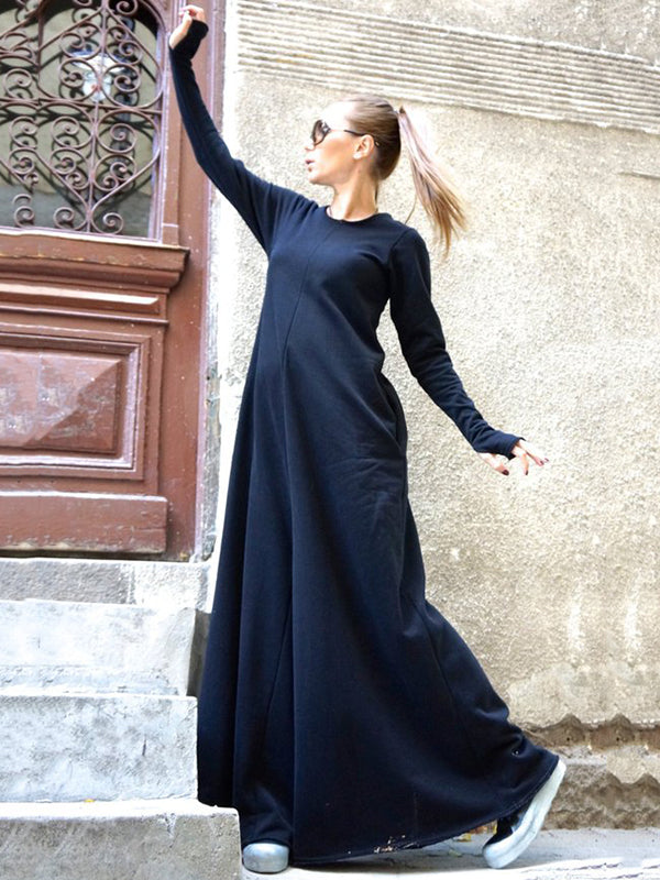 Blue Long Sleeves Round-neck Wide Leg Jumpsuits