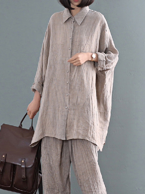 Casual Solid Linen Long Blouse