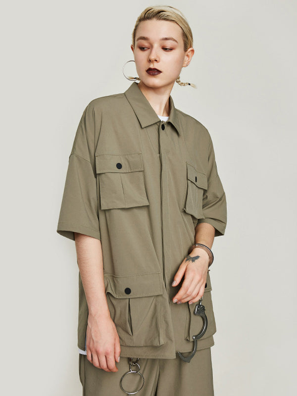 Solid Lapel Short-sleeves Windbreaker Blouse